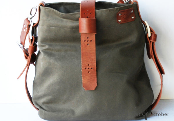 11082  shoulder bag loop green/cognac