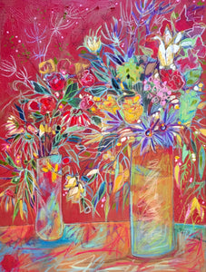 """Celebration In Red with Two Vases"" Mixed Media Painting"