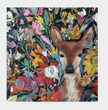 "Load image into Gallery viewer, ANIMAL LOVERS COLLECTION ""Fawn Botanical"" 26x26 Inch Chiffon Scarf"