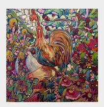 "Load image into Gallery viewer, ANIMAL LOVERS COLLECTION ""Barnyard King Botanical"" 26x26 Inch Chiffon Scarf"