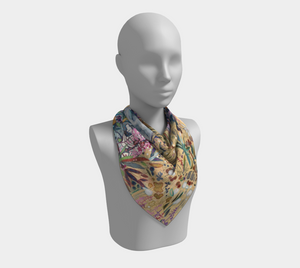 "ANIMAL LOVERS COLLECTION ""King of the Summer North Botanical"" 26x26 Inch Chiffon Scarf"
