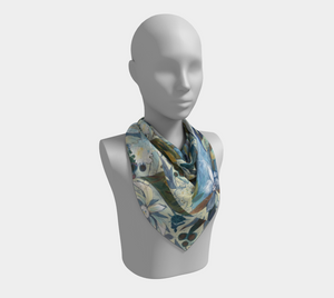 "ANIMAL LOVERS COLLECTION ""Two Egrets Botanical"" 26x26 Inch Chiffon Scarf"