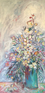 """Orchids and Such"" 30x40 Inch Mixed Media Painting"
