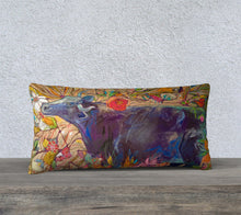 "Load image into Gallery viewer, ""Blue Steer Botanical"" 12x24 Inch Artisan Accent Pillow Case"