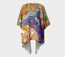 "Load image into Gallery viewer, ""Blue Steer Botanical"" Short Draped Kimono Top"
