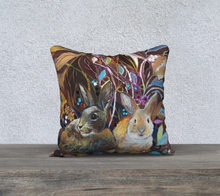 "Load image into Gallery viewer, ""Hidden Bunnies Botanical"" 18x18 Inch Velveteen Artisan Accent Pillow Case"