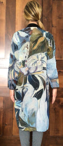 "THE ANIMAL LOVERS COLLECTION ""Two Egrets Botanical"" Chiffon Duster"