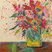 "Load image into Gallery viewer, ""Whimsical Floral with Green Vase"" 8x10 Inch Canvas Reproduction"