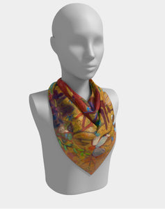 "ANIMAL LOVERS COLLECTION ""Red Rabbits Run Botanical"" 26x26 Inch Chiffon Scarf"