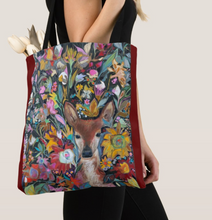 "Load image into Gallery viewer, ""Fawn Botanical"" Canvas Tote Bag"