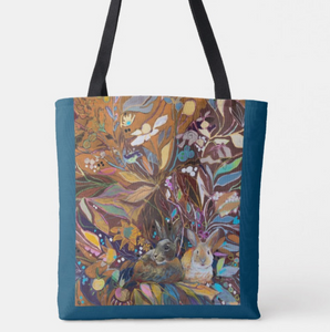 """Hidden Bunnies Botanical"" Canvas Tote"