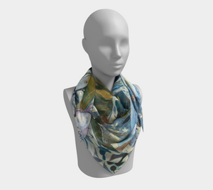"ANIMAL LOVERS COLLECTION ""Two Egrets Botanical"" 36x36 Inch Chiffon Wild Rag Scarf"