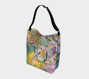 """Abstract Botanical With Pink"" Neoprene Tote"
