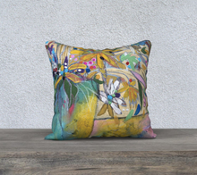 "Load image into Gallery viewer, NEW!!! ""Abstract Botanical with Pink""  18x18 Inch Velveteen Pillow Case"
