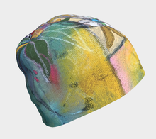 "Load image into Gallery viewer, NEW!! ""Abstract Botanical with Pink"" Beanie"
