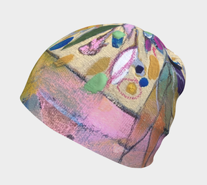 "NEW!! ""Abstract Botanical with Pink"" Beanie"