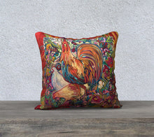"Load image into Gallery viewer, ""Barnyard King"" 18x18 Inch Canvas Artisan Accent Pillow Case"