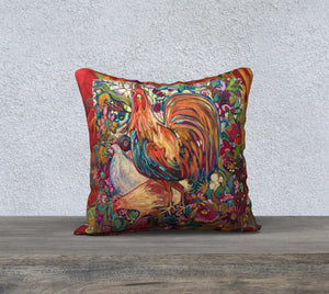 """Barnyard King"" 18x18 Inch Canvas Artisan Accent Pillow Case"