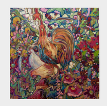 "Load image into Gallery viewer, ANIMAL LOVERS COLLECTION ""The Barnyard King Botanical"" 36x36 Inch Chiffon Wild Rag Scarf"