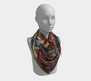 "ANIMAL LOVERS COLLECTION ""The Barnyard King Botanical"" 36x36 Inch Chiffon Wild Rag Scarf"