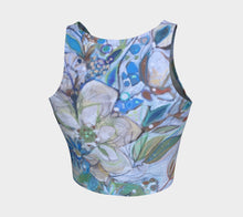 "Load image into Gallery viewer, ""Beautiful Blues Botanical"" Cropped Yoga Tank Top"