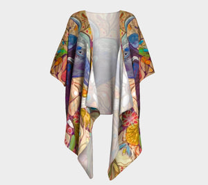 """Blue Steer Botanical"" Short Draped Kimono Top"