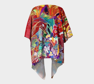 "'Celebration In Red Botanical"" Draped Short Chiffon Kimono Top"