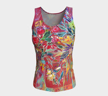 "Load image into Gallery viewer, ""Celebration In Red Botanical"" Fitted Peachskin Tank Top Size Med."