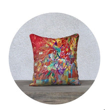 "Load image into Gallery viewer, ""Celebration In Red Botanical"" 18x18 Inch Canvas Artisan Accent Pillow Case"