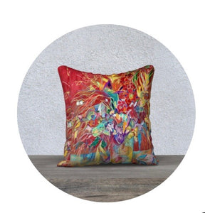 """Celebration In Red Botanical"" 18x18 Inch Canvas Artisan Accent Pillow Case"
