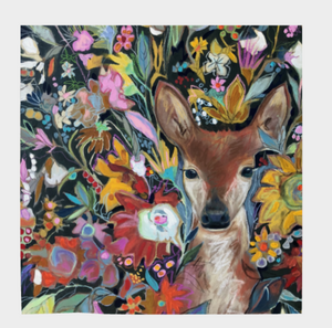"ANIMAL LOVERS COLLECTION ""Fawn Botanical"" 36x36 Inch Wild Rag Chiffon Scarf"
