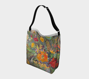 """Floral #2 w/ Teal Dots Neoprene Tote"