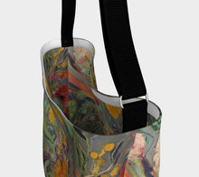 "Load image into Gallery viewer, ""Floral #2 w/ Teal Dots Neoprene Tote"