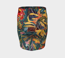 "Load image into Gallery viewer, ""Gnarly Sunflower w/ Dark Teal Botanical""  Artisan Fitted Skirt"