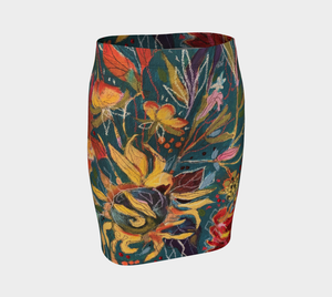 """Gnarly Sunflower w/ Dark Teal Botanical""  Artisan Fitted Skirt"
