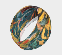 "Load image into Gallery viewer, ""Gnarly Sunflower with Dark Teal Botanical"" Headband"