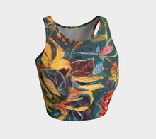 "Load image into Gallery viewer, ""Gnarly Sunflower with Dark Teal Botanical"" Cropped Yoga Tank top"