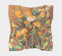 "Load image into Gallery viewer, ""Golden Ranunculus"" 36x36 Inch Wild Rag Satin Scarf"