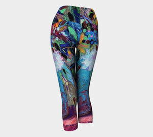 """Mardi Gras Floral"" Capri Yoga Leggings Size Medium"