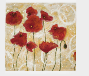 """Red Poppies"" 26x26 Inch Chiffon Scarf"