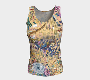 "NEW!! ANIMAL LOVERS COLLECTION ""King of the Summer North Botanical"" Fitted Peachskin Jersey Tank Top"