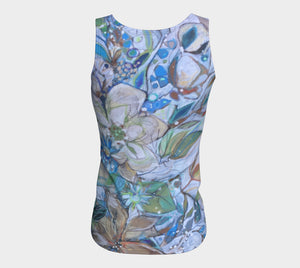 """Beautiful Blues Botanical"" Peachskin Fitted Tank Top"