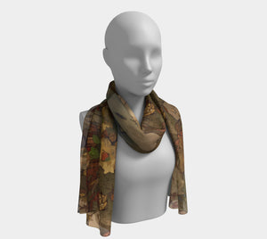 """Abstract Autumn"" 16x72 Inch Chiffon Scarf"