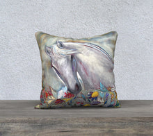 "Load image into Gallery viewer, NEW!!!    ""White Spirit Horse Botanical"" 18x18 Inch Velveteen Pillow Case"