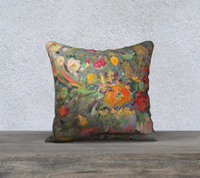 "Load image into Gallery viewer, ""Floral #2 w/ Teal Dots 18x18 Inch Canvas Artisan Accent Pillow Case"