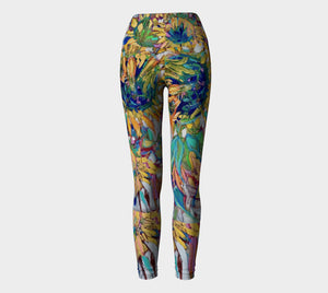 """Autumn Sunflowers Botanical"" Long Yoga Leggings"