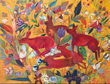 "Load image into Gallery viewer, ANIMAL LOVERS COLLECTION ""Red Rabbits Run Botanical"" 26x26 Inch Chiffon Scarf"