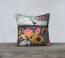 "Load image into Gallery viewer, ""Stallion and the Cherry Tree""  18x18 Inch Velveteen Pillow Case"
