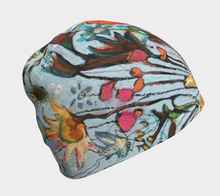 "Load image into Gallery viewer, ""Sunflowers with Light Blue Botanical"" Beanie Size Sm./Med."