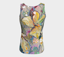 "Load image into Gallery viewer, ""Two Irises Botanical"" Fitted Peachskin Jersey Tank Top"